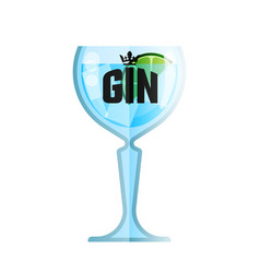 gin glass cocktail flat menu cafe vector image