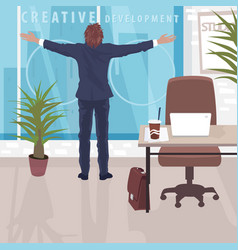 happy businessman near panoramic window in office vector image