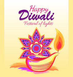 Happy diwali festival light vector