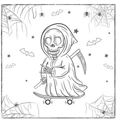 happy halloween scary drawing sketch for coloring vector image