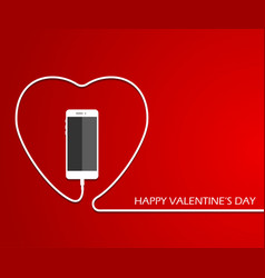 heart with phone wire valentines card eps vect vector image