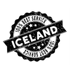 Iceland best service stamp with dirty texture vector