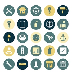 Icons plain round industrial vector