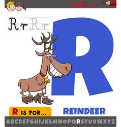 letter r worksheet with cartoon reindeer animal vector image
