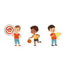 little boy playing sport game and obtaining prize vector image