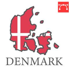Map denmark flag color line icon vector