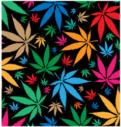 Marijuana color pattern on black background vector
