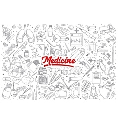 Medicine doodle set with lettering vector image