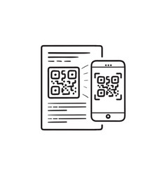 mobile phone scanning qr code hand drawn outline vector image