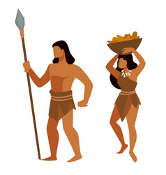Neanderthals during prehistoric era man and woman vector