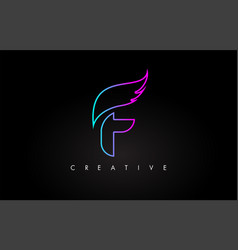 Neon f letter logo icon design with creative wing vector