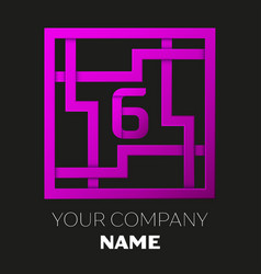 Number six logo in colorful square maze vector