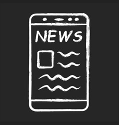 online news chalk icon electronic newspaper vector image