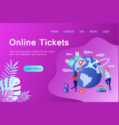 Online tickets banner in flat style vector
