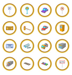Parking items icons circle vector