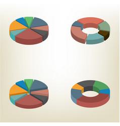 Pie chart isometric vector