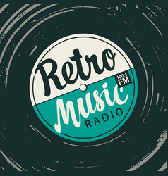 Poster for retro music radio with old vinyl record vector