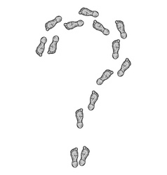 Question mark formed by the footprints vector