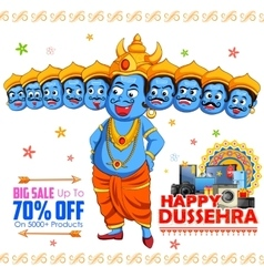 Ravana for Happy Dussehra sale promotion vector