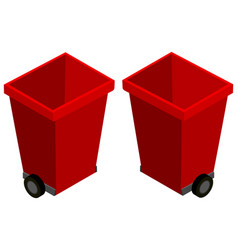 red trashcans from two different angles vector image