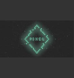 Retrofuturistic cyberpunk glitch pixel rhombus vector