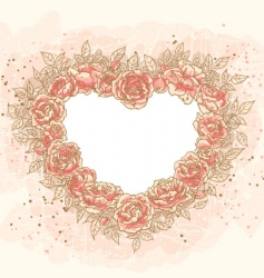 romantic heart frame with rose vector image