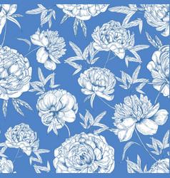 romantic seamless pattern with tender peony vector image