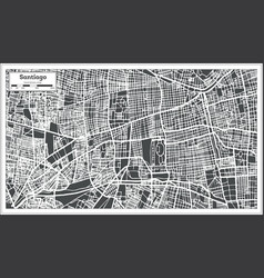 Santiago chile city map in retro style outline map vector