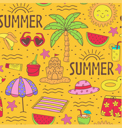 seamless pattern with summer icons on beach vector image