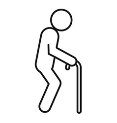 Senior man walking stick icon outline style vector