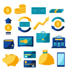 set banking and money icons vector image