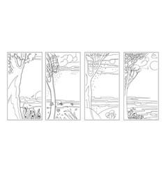 set black-white flat natural backgrounds vector image