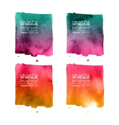 Set of 4 purple painted in watercolor vector image