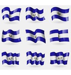 Set of El Salvador flags in the air vector image