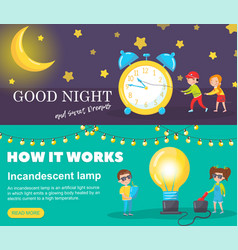 set of horizontal banners good night and sweet vector image