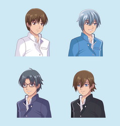 set of male face anime vector image