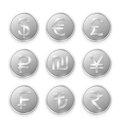 Silver coins with symbols top world currencies vector