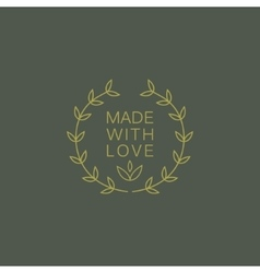 Simple Floral Green Hand Made Trademark vector image