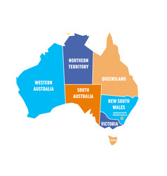 Simplified map of australia divided into states vector