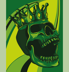 skull with crown on colored background vector image