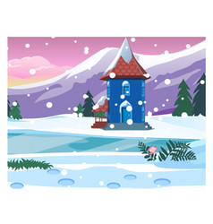 small lonely house with snowy mountains sketch vector image