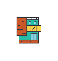 small office building line icon concept small vector image