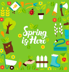 spring is here lettering postcard vector image