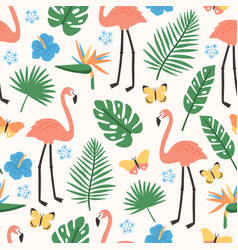 Summer seamless pattern with exotic jungle foliage vector
