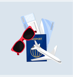 sunglasses passport air tickets and plane vector image