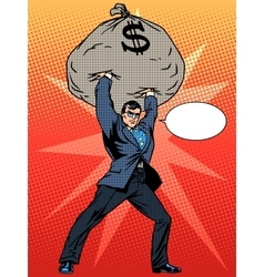 Super businessman hero with a bag of money vector image