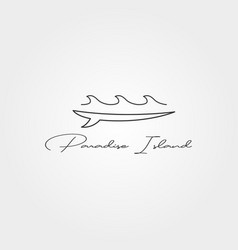 Surfboard and wave line icon logo minimal design vector