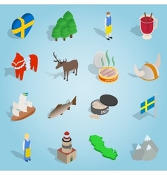 Sweden set icons isometric 3d style vector