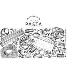 talian pasta design template hand drawn food vector image