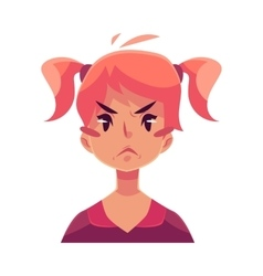 Teen girl face angry facial expression vector image